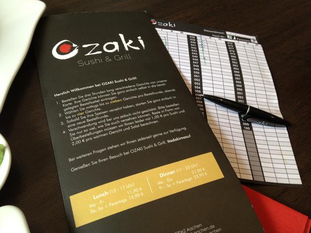 Ozaki Speisekarte und Bestellschein
